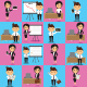 16 Cartoon Character Office Staff Mascot Set - GraphicRiver Item for Sale