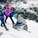 Two women with baby stroller enjoying winter in forest, family t - PhotoDune Item for Sale
