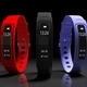 Fitness tracker, smart watch, black, red and blue, isolated on black background. 3d illustration - PhotoDune Item for Sale