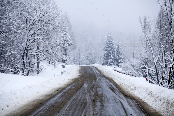 Misty road in winter - Stock Photo - Images