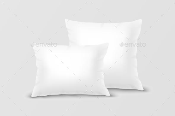 Vector Realistic White Pillow Set Closeup