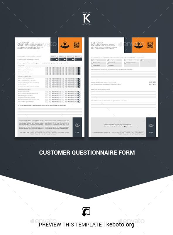 questionnaire form design Customer Questionnaire Form