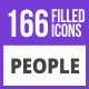 166 People Filled Blue & Black Icons - GraphicRiver Item for Sale