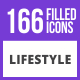 166 Lifestyle Filled Blue & Black Icons - GraphicRiver Item for Sale