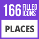 166 Places Filled Blue & Black Icons - GraphicRiver Item for Sale