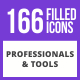 166 Professionals & their tools Filled Blue & Black Icons - GraphicRiver Item for Sale