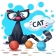 Cat Cartoon Characters. Clew Knitting. - GraphicRiver Item for Sale