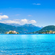 Orta Lake landscape. Orta San Giulio village and island Isola S. - PhotoDune Item for Sale