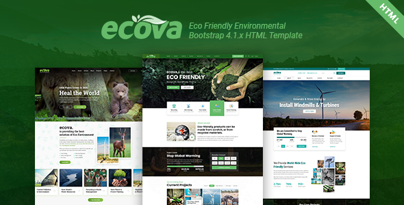 Ecova - Eco Environmental Bootstrap 4 Template