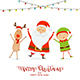 Happy Santa with Elf and Christmas Deer - GraphicRiver Item for Sale