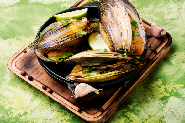 Delicious seafood mussels - Stock Photo - Images