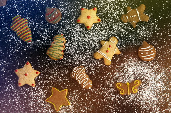 Christmas Cookies On Colorful Background