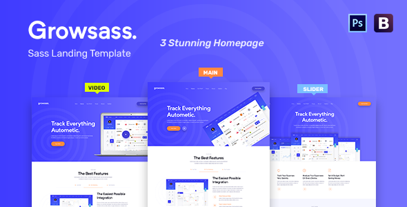 Growsass - Software Landing Page PSD Template - Software Technology