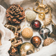 Free Download Christmas tree decoration toys and cones in box, vertical composition Nulled