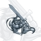 Monochrome Paladin Knight with Sword - GraphicRiver Item for Sale