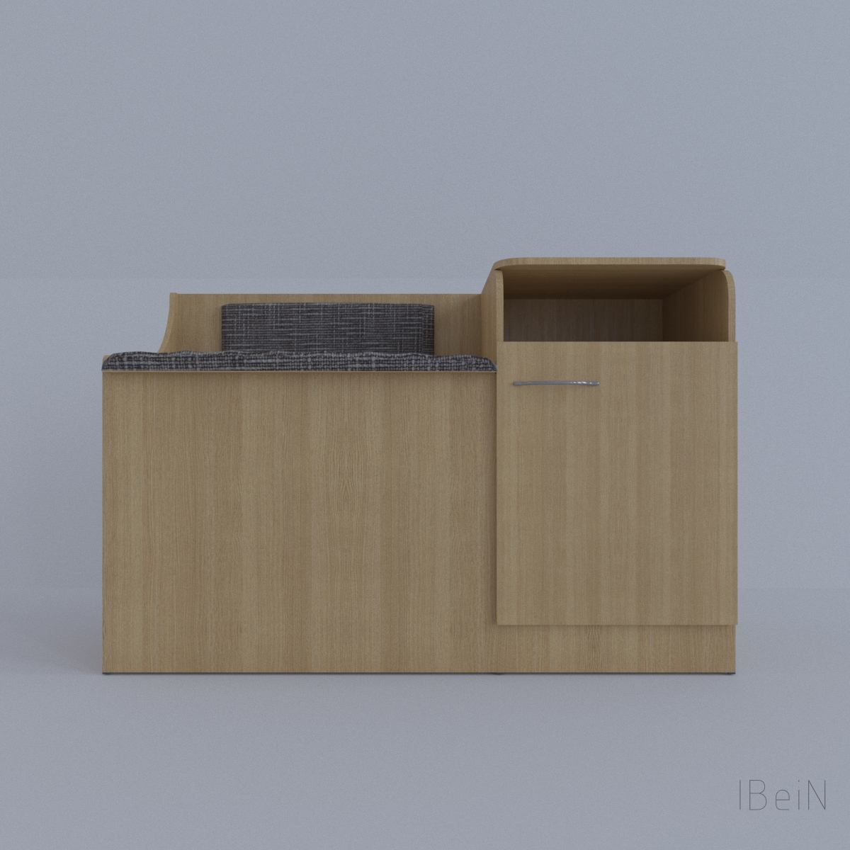 Wooden wardrobe with seating