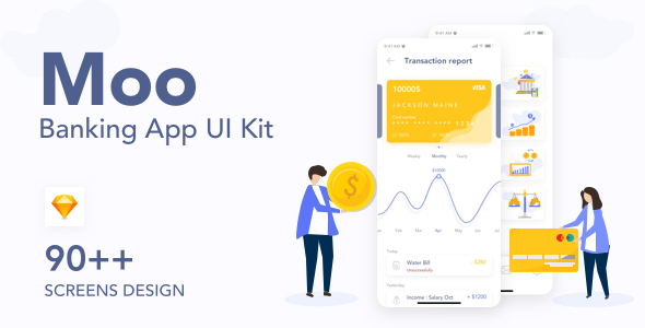 Moo - Banking Application UI Kit - Sketch Templates