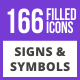 166 Signs & Symbols Filled Blue & Black Icons - GraphicRiver Item for Sale