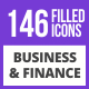 146 Business & Finance Filled Blue & Black Icons - GraphicRiver Item for Sale