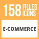 Free Download 158 E-Commerce Filled Round Icons Nulled