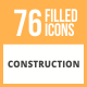 76 Construction Filled Round Icons - GraphicRiver Item for Sale