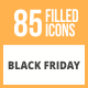 85 Black Friday Filled Round Icons - GraphicRiver Item for Sale