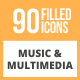 90 Music & Multimedia Filled Round Icons - GraphicRiver Item for Sale