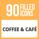 90 Coffee & Cafe Filled Round Icons - GraphicRiver Item for Sale