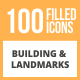 100 Building & Landmarks Filled Round Icons - GraphicRiver Item for Sale