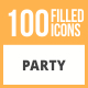 100 Party Filled Round Icons - GraphicRiver Item for Sale