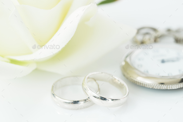 Wedding Rings On White Background 4
