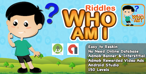 Riddle Who Am I + Best Kids Quiz App + Ready For Publish + Android - CodeCanyon Item for Sale
