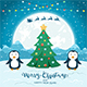 Christmas Tree with Happy Penguins and Santa - GraphicRiver Item for Sale