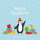 Happy Penguin with Gifts on Blue Background - GraphicRiver Item for Sale