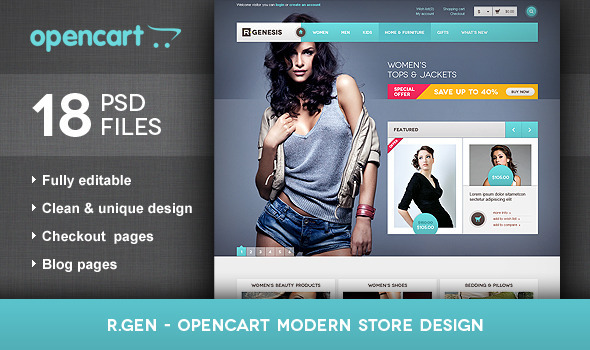 R.Gen - OpenCart Modern Store Design PSD - Retail PSD Templates