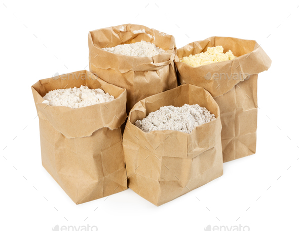 Flour and flour mixture in paper bags - Stock Photo - Images