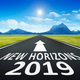 road to horizon with text new horizons 2019 - PhotoDune Item for Sale