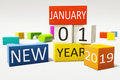 new year january thirst 2019 colorful building blocks - PhotoDune Item for Sale
