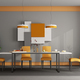 Gray and orange dining room - PhotoDune Item for Sale