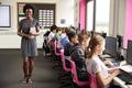 Portrait Of Female Teacher Holding Digital Tablet Teaching Line Of High School Students  - PhotoDune Item for Sale