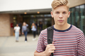 Portrait Of Serious Male High School Student Outside College Building  - PhotoDune Item for Sale