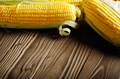 Ripe fresh organic sweet corncobs on wooden table - PhotoDune Item for Sale