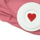 Valentines dinner, Red heart on white plates, red checkered table cloth, white background - PhotoDune Item for Sale