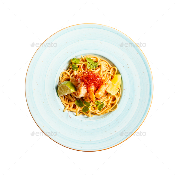 Pasta linguine with green spices - Stock Photo - Images