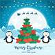 Penguins and Christmas Tree from Gifts on Blue Background - GraphicRiver Item for Sale