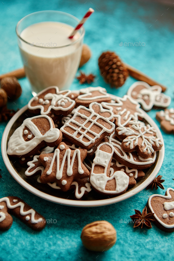 Sweet Christmas composition. Assortment of gingerbread cookies on a plate - Stock Photo - Images