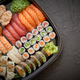Free Download Various kinds of sushi on plate or platter set Nulled