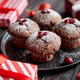 Free Download Christmas chocolate delicious muffins served on black ceramic plate Nulled