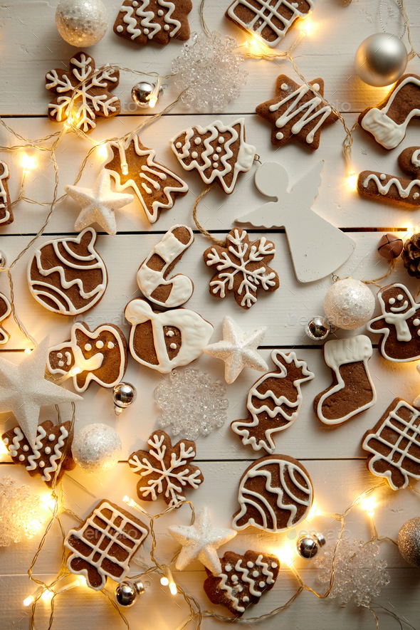 Christmas Sweets.Christmas Sweets Composition Gingerbread Cookies With Xmas Decorations