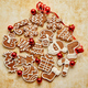 Free Download Christmas cookies compostion on table. With small balls. Nulled